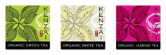 A set of 3 Organic Tea Labels for Kenzai Tea sketched in pencil, traced in Adobe Illustrator and textured in Adobe Photoshop. http://www.mn8designsource.co.nz