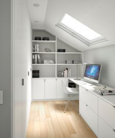 Nice, small, bright white office with skylight window. Nice, small, bright white office with skylight window. Attic Spaces, Attic Rooms, Small Spaces, Attic Playroom, Small Attic Room, Attic Loft, Loft Room, Attic Library, Attic House