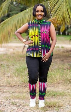 Call, SMS or WhatsApp if you want this style, needs a skilled tailor to hire or you want to expand more on your fashion business. African Dresses For Women, African Attire, African Fashion Dresses, African Women, Nigerian Fashion, Ankara Styles, Ankara Designs, Trouser Outfits, Gemini Woman