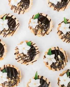 You'll Want to Pin Every Detail of This Boho-Chic Bachelorette Party | Martha Stewart Weddings - A fourth option, tiny chocolate hazelnut tarts topped with edible flowers by Whisk & Whittle, rounded out the dessert display.