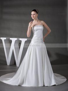 Makaria - robe de mariée a-ligne sans bretelles en satin avec perlage