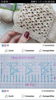 Crochet Shell Stitch, Crochet Motifs, Crochet Diagram, Crochet Stitches Patterns, Crochet Chart, Crochet Squares, Crochet Basics, Filet Crochet, Crochet Designs