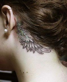 Beautiful Wingshaped Tattoo Behind Ear. #BehindTheEarTattooIdeas