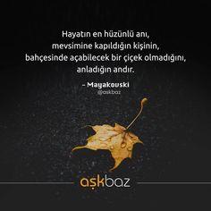 Hayatın en hüzünlü anı, mevsimine kapıldığın kişinin bahçesinde açabilecek bir çiçek olmadığını anladığın andır. - Vladimir Mayakovski (Kaynak: Instagram - askbaz) #sözler #anlamlısözler #güzelsözler #manalısözler #özlüsözler #alıntı #alıntılar #alıntıdır #alıntısözler #şiir #edebiyat Quotations, Qoutes, Meaningful Words, Karma, Favorite Quotes, Poems, Writer, Sayings, Life