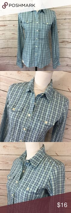 "-Levis- Button Down Blue Plaid Shirt Western Top Cute Levi's Button Down Shirt with Roll-Tab Sleeves! Women's Size - Small 100% Cotton Machine Wash Chest: 36"" Length: 23"" Sleeve Length:  23"" Condition: Gently used condition; no stains, holes or tears Please review pictures for product details.  Thank you for looking! Levi's Tops Button Down Shirts"