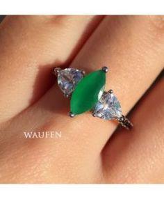 anel com pedra verde leitosa semi joia