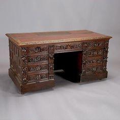 Black Forest Carved Oak Desk :