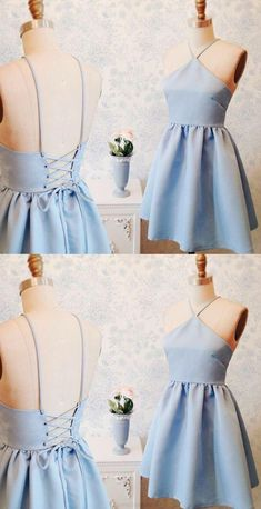 Blue Prom Dresses 2017, Prom Dresses 2017, Short Prom Dresses, Blue Prom Dresses, 2017 Prom Dresses, Prom Dresses Blue, Light Blue Homecoming Dresses, Sexy Prom dresses, Halter Prom Dresses, Homecoming Dresses 2017, Light Blue dresses, Light Blue Prom Dresses, 2017 Homecoming Dress Sexy Halter Lace-up Short Prom Dress Party Dress
