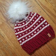 ***Chunky Fair Isle Stripe Knit Hat*** … Color is Burgandy/Ivory … Hand knit… – Knitting world Baby Hats Knitting, Fair Isle Knitting, Loom Knitting, Knitted Hats, Knitting Machine Patterns, Crochet Patterns, Knitting Projects, Crochet Projects, Knit Or Crochet