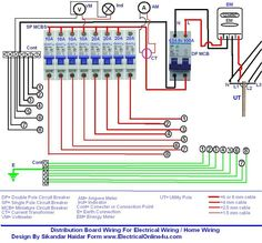 Wiring of distribution board wiring diagram with DP MCB and SP MCBS