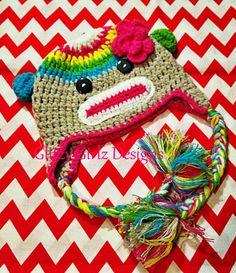 "Super adorable crochet animal ""sock monkey"" rainbow hat baby girl toddler beanie hat/photo op on Etsy, $18.99"