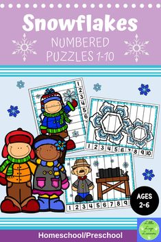 This Snowflake Numbered Puzzles 1-10 is the perfect addition for Math Centers for homeschool and preschool curriculum. This time saving, counting resource is engaging with its vibrant pictures! Your 2-6 year olds will enjoy learning about Snowflakes and counting from 1 to 10 with this interactive number lesson. Numbers Preschool, Preschool Curriculum, Learning Numbers, Preschool Math, Homeschool, Preschool Winter, Number Puzzles, Number Activities, Activity Centers