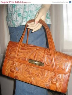 Vintage Avalar Western Hand Tooled British Tan Beige Satchel Purse Made In Mexico