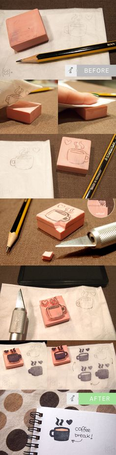How to do Rubber Stamps!  http://blog.cocolacoquette.com/diy-haciendo-nuestros-propios-sellos-de-goma-carving-rubber-stamps/