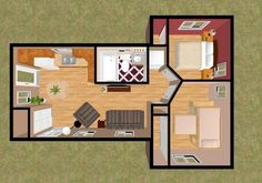 cozyhomeplans com 544 sq ft small house floor plan Mini House Plans, Small House Floor Plans, Simple House Plans, Garage House Plans, Small House Layout, Tiny House Design, House Layouts, Bamboo Containers, Interior Architecture Drawing