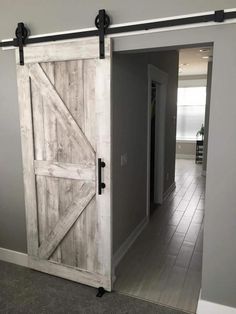 "Framed British Brace Style Rustic Sliding Barn Door "") - Distressed White - Hardware Optional - Interior Barn sliding doors - DIY barn door ideas for your home - ideas for a Rustic House, Diy Barn Door, Remodel, Awesome Bedrooms, Door Design, Bedroom Door Decorations, Home, Bedroom Doors, Home Decor"