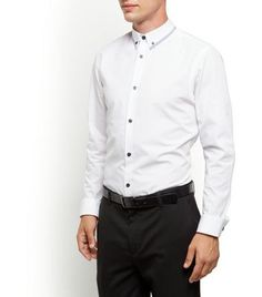 New Look White Contrast Trim Collar Long Sleeve Shirt Add this contrast trim collar long sleeve shirt to a more formal wardrobe - try pairing with tailored trousers and brogues to finish.- Contrast trim collar- Button front fastening- Simple long sleeves http://www.MightGet.com/march-2017-1/new-look-white-contrast-trim-collar-long-sleeve-shirt.asp