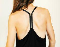 Trash To Couture: DIY Plain tank sewn zipper racer back.