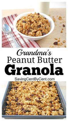 The Best Peanut Butter Granola - Saving Cent by Cent Peanut Butter Granola, Best Peanut Butter, Homemade Peanut Butter, Breakfast Time, Breakfast Recipes, Snack Recipes, Snacks Ideas, Vegetarian Breakfast, Breakfast Ideas