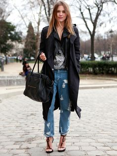 Street Style - Denim/boyfriend look   #deminlook #ss13