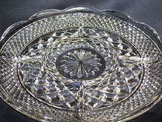 """Vintage Anchor Hocking   WEXFORD  Crystal Clear Pressed Glass Divided Relish Tray   5 Section   11""""  $6.99"""