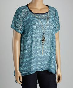Look what I found on #zulily! Blue Hi-Low Top & Necklace - Plus by Spin #zulilyfinds