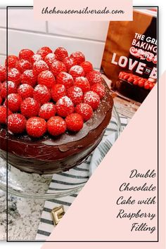 A decadent double chocolate cake, filled with raspberry jam, frosted with a thick layer of chocolate ganache, and topped with fresh red raspberries. Double Chocolate Cake, Chocolate Raspberry Cake, Chocolate Sponge, Chocolate Ganache, Best Dessert Recipes, Fun Desserts, Cake Stand With Dome, Decadent Cakes, Raspberry Filling