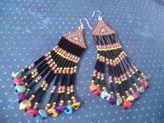 Fringe Earrings Long Seed Bead Earrings by WorkofHeart on Etsy, $26.00