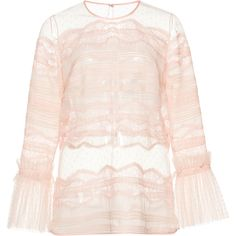 Zuhair Murad Inlaid Lace Blouse ($1,545) ❤ liked on Polyvore featuring tops, blouses, lacy tops, long sleeve lace top, lacy blouses, pink blouse and long sleeve crop top