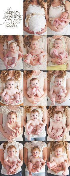 Fotos do desenvolvimento do bebê - Mãe vestindo sempre a mesma roupa e bebê apenas de fralda, no colo da mãe mês a mês.