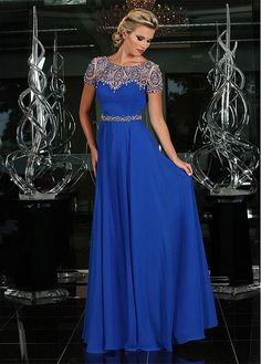 Buy discount Charming Chiffon Bateau Neckline A-Line Prom Dresses With Beads at Dressilyme.com