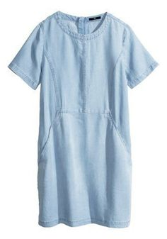 Light Blue Plain Pockets Short Sleeve Denim Dress