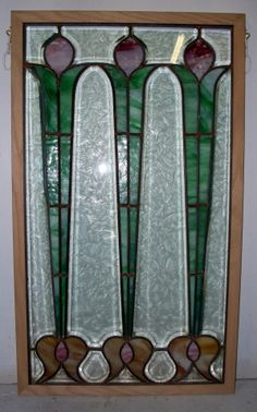 "Leaded Glass Window - Beautiful antique leaded glass window, new frame - 19 1/8"" x 32 5/8"". Pink/green/gold and beveled glue chip! Stock #DS-29-1 ----- Price $650.00"