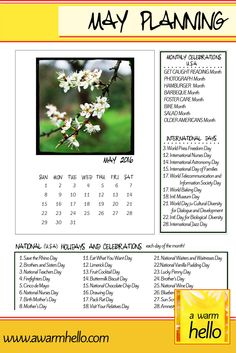 Don't Miss a Day in May! Looking for ideas for celebrations in May? Come download your Free Planner!