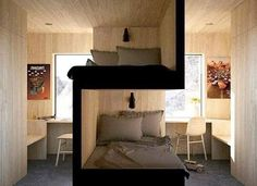 Bunk beds design and room ideas. Most amazing bunk beds for kids. Designing bunk beds that you might like. Small Apartments, Small Spaces, Small Space Bed, Small Dorm, Kid Spaces, Sibling Bedroom, Siblings Sharing Bedroom, Student Room, Bunk Rooms