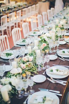 Reception Table Setting Wooden Table White Pink Florals Greenery Crystal Candle Holders Beautiful Pink Blue Tuscany Villa Wedding http://www.chloemurdochphotography.com/