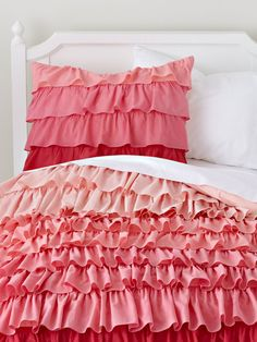 Fade To Pink Duvet Cover (Full) by Land of Nod on Gilt.com - Perfect for the little ballerina in your home, this bedding set features layers of ruffles that blend from red to pink in a beautiful ombré effect.