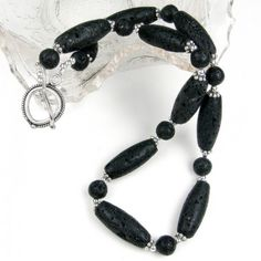 Black Lava Necklace Volcanic Gemstone Silver Toggle Handcrafted | Covergirlbeads - Jewelry on ArtFire