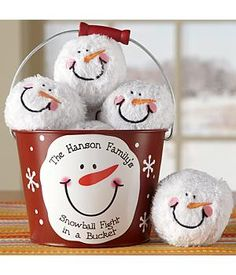 Personalized Snowball Fight in a Bucket Family Gift