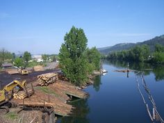 St. Maries, ID : Log decks along the St. Joe River and Tug boats