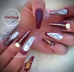 Coffin matte burgundy red with gold detailing and marble! Beautiful nails by @vincentnails Ugly Duckling Nails page is dedicated to promoting quality, inspirational nails created by International Nail Artists #nailartaddict #nailswag #nailaholic #nailart #nailsofinstagram #naila