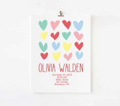 Personalized Girl Birth Announcement Wall Art by ModernPinkPaper, $18.00