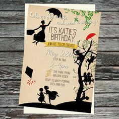 Mary Poppins, Let's go Fly a Kite, Picnic Birthday Party or Baby Shower Invitations, Printable