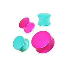 Metallic Neon Color Plated UV Saddle Plug   Available in six sizes: 2g, 0g, 00g, 1/2in, 9/16in, 5/8in. Metallic Neon Color Plated UV Saddle Plug. Brightest Neon color plated UV Saddle Plug. Perfect size double flares and generous wearing area This item is sold individually not in pairs!