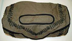 Original linen traveling bag from the Carolann Schmitt collection.  Circa1855-1865.