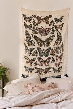 Shop Chrysalis Textured Tapestry at Urban Outfitters today. Diy Home Decor Bedroom For Teens, Vintage Bedroom Decor, Vintage Home Decor, Bedroom Ideas, Urban Outfitters, Tapestry Bedroom, Wall Tapestry, Butterfly Illustration, Picture On Wood
