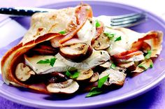 French mushroom, ham and goat's cheese crepes