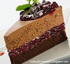 Čokoladna torta s višnjama Brze Torte, Rodjendanske Torte, Torte Recepti, Kolaci I Torte, Cupcake Recipes, Baking Recipes, Cookie Recipes, Food Cakes, Torta Recipe