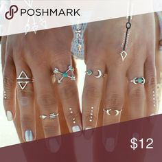 🆕💕Boho Ring Set. 🆕💕Boho Ring Set is a combination of adjustable mindi rings and regular ones all made of a silver tone alloy. Goes great with the Boho Moon Bracelet, which can be purchased together as a bundle for a discounted rate in a separate listing in my closet. Price firm. Jewelry Rings