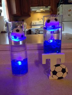centerpiece ideas for our sons soccer banquet Soccer Centerpieces, Banquet Decorations, Party Centerpieces, Centerpiece Ideas, Banquet Ideas, Bar Mitzvah Centerpieces, Soccer Birthday Parties, Basketball Party, Sports Party